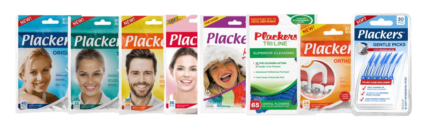 Hampaille.fi-verkkokaupassa olevat Plackersin tuotteet